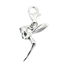 Sweet Silver Fairy With Wings Charm Pendant