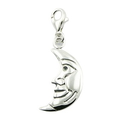 Fluted Smiling Moon Profile Silver Charm Pendant