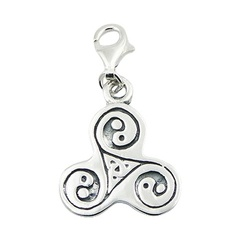 Three Energies Sterling Silver Celtic Triskele Charm Pendant