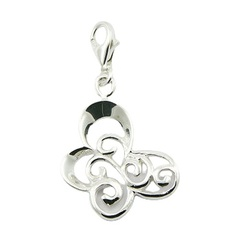 Ajoure Silver Stylized Butterfly Charm Pendant