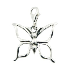 Sterling Silver Butterfly Charm With Open Wings