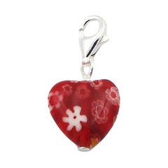 Red Murano Glass Heart Charm With Flowers Silver Clasp
