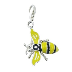 Sterling Silver Pendant Honey Bee with Enamel Charm