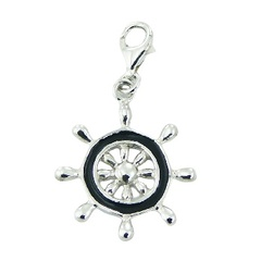 Sterling Silver Pendant with Enamel Boat Helm Charm
