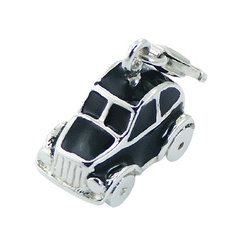 Sterling Silver Pendant with Enamel Vintage Car Charm