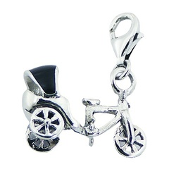 Enameled Rickshaw Clip-On Charm 925 Planet Silver Jewelry