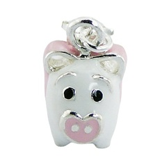 Enamel 925 Sterling Silver Pig As A Lucky Clip-On Charm