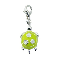 Sterling Silver Enamel Turtle Charm With Three Flowers