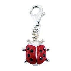 Sterling Silver Red Enameled Charm Adorable Ladybird