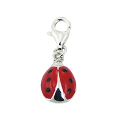 Sterling Silver Enamel Charm Ladybird On Lobster Clasp