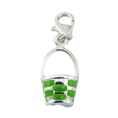 Sterling Silver Enamel Charm Bucket With Green Accents