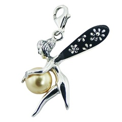 Swarovski Pearl Sterling Silver Adorable Fairy Clip-On Charm