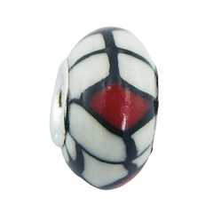 Ultra Fashionable Polymer Fimo Beads Black Red On White