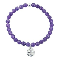Amethyst Bead Stretch Bracelet 925 Silver Compass Charm