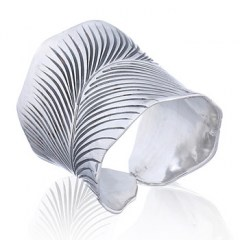 Adjourable Curly Silver Leaf Rings