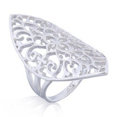 Marquise Shape Floral Lace 925 Silver Ring