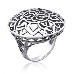Airy Floral Mandala Statement Silver Ring