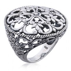 Floral Openwork Statement Silver Ring