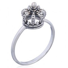 925 Silver Band Ring Crown on Top