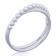 925 Sterling Silver Bead Ring Double Band