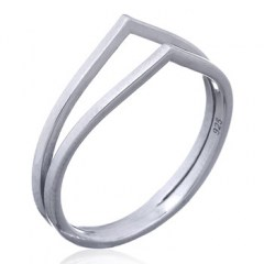 Double Pointed Band 925 Silver Ring