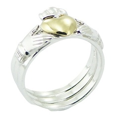 Separable Sterling Silver Claddagh Ring 3 Rings in 1