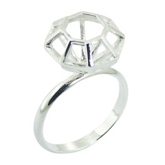 Plain Silver Ring Diamond Shape Frame