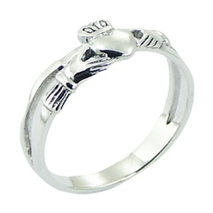 Double Band Casted Polished Sterling Silver Claddagh Ring