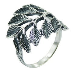 Exquisite Antiqued Sterling Silver Branch and Leaves Ring