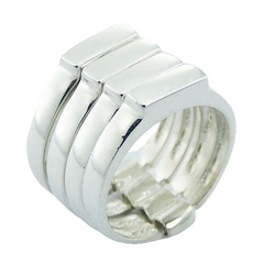 Unique Planet Silver Jewelry Plain 925 Silver Stacked Rings