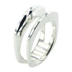 Stylish Two In One Smoothed 925 Silver Angular Shaped Bands