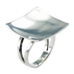 Exceptional Sterling Silver Ring Square Recessed Center