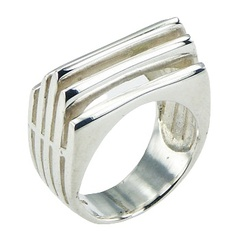 Art Nouveau Conical Rectangular Open Silver Designer Ring
