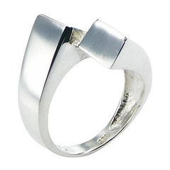 Plain Sterling Silver Ring Trendy Extended Shifted Angular Band