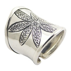 Grand Ornate Sterling Silver Cylinder Flower Ring