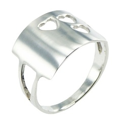 Plain Silver Ring Solid Arched Rectangle Three Open Hearts
