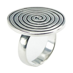 In Vogue Antiqued Rolled Up Spiral Sterling Silver Ring