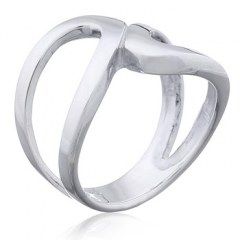 Minimalistic Curved Loops Meet In Center Planet Silver Ring