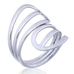 Open Drop Shaped Wire Elements Silver Ring