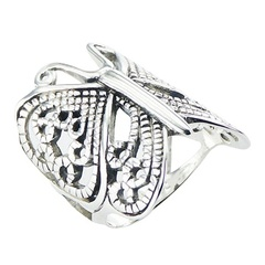 Ornate 925 Silver Butterfly Ring Art Nouveau Openwork