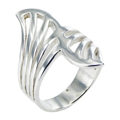 Beautiful Open Fan Shaped Art Nouveau Decor Silver Ring