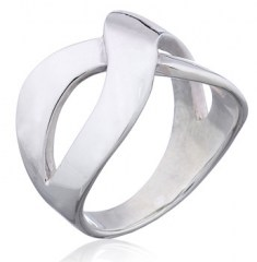Open Entwined Bands Shiny Sterling Silver Fashion Ring