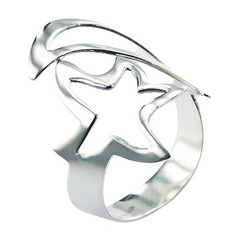 Plain Sterling Silver Ring Curvy Cut Out Open Star & Moon