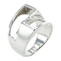 Fashionable Shifted Open Silver Trapeziums Designer Ring
