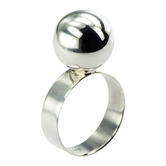 Plain Sterling Silver Band Topped By Charming Shiny Sphere