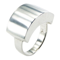 Contemporary Ring Design Boldly Arched Massive 925 Silver