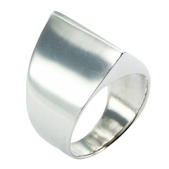 Minimalistic Conical Ring Design Bold Shiny Sterling Silver