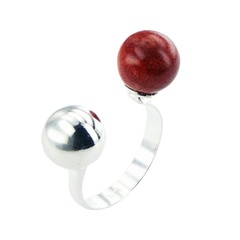 Silver Coral Ring Open Band 10mm Red Sponge Coral Sphere
