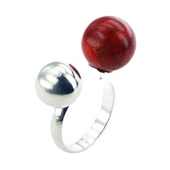 Silver Coral Ring Red Sponge Coral Sphere Open Band