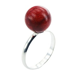 Coral Ring Sterling Silver Band Red Sponge Coral Sphere